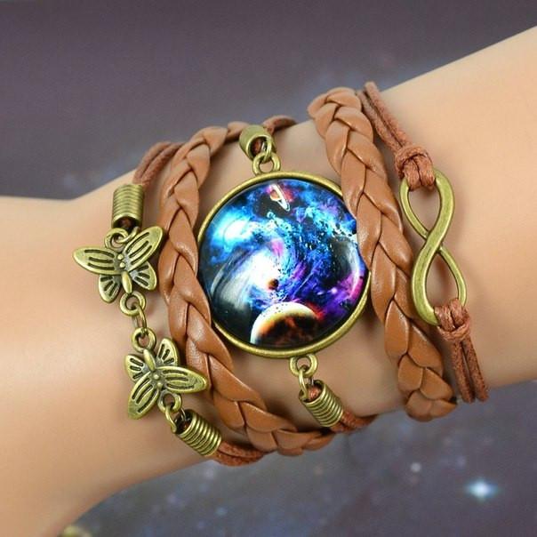 Плетеный браслет галактика с подвеской