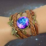 Плетеный браслет галактика с подвеской , фото 2