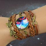 Плетеный браслет галактика с подвеской , фото 3