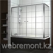 Шторка на прямоугольную ванну хром/бел. 170*140
