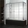 Шторка на прямоугольную ванну хром/бел. 150*140