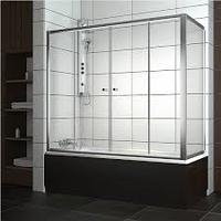 Шторка на прямоугольную ванну хром/бел. 150*140, фото 1