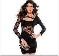 Черное сексуальное платье с гипюровым рукавом и гипюровой спиной