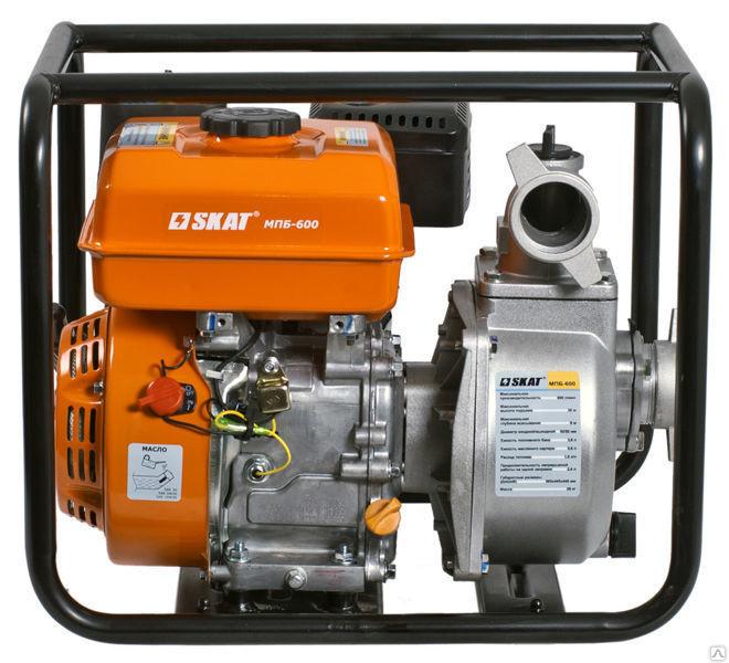 Мотопомпа бензиновая для перекачки чистой воды  SKAT МПБ-600