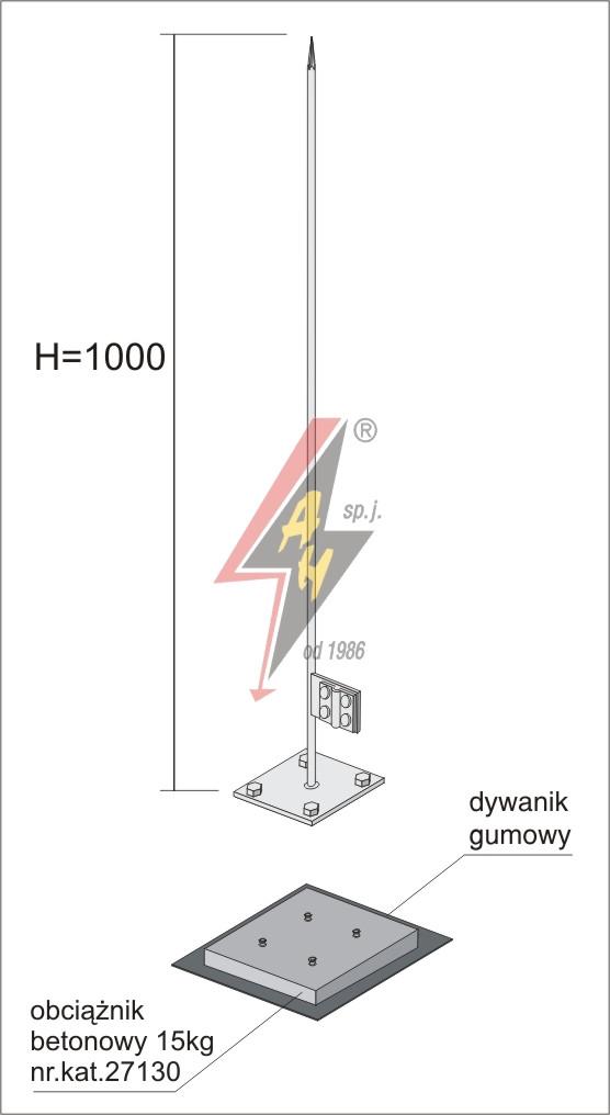 Мачта стальная горячего оцинкования  H=1000 mm, цельная, с утяжелителями