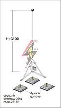 Вольностоящая мачта стальная (горячего оцинкования) для молниеуловителей на подставках   H=3100 mm, расстояние до 5 m, составная, тренога, утяжители