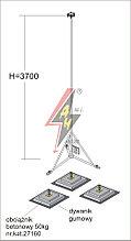 Вольностоящая мачта стальная (горячего оцинкования) для молниеуловителей на подставках   H=3700 mm, расстояние до 8 m, составная, тренога, утяжители