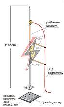 Мачта горячего оцинкования с изолированным громоотводом  H=3200 mm, составной, утяжелитель 27150, (Ø 0,71 m) – 5,5 кг / 40,5 кг