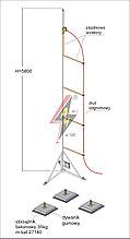 Мачта горячего оцинкования с изолированным громоотводом   H=5800 mm, составной, тренога, утяжители 3x27140, (Ø 1,90 m) – 24,2 кг / 129,2 кг