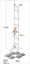 Мачта горячего оцинкования с изолированным громоотводом   H=8000 mm, составной, тренога, утяжители 3x27190, (Ø 2,20 m) – 31,8 кг / 456,3 кг