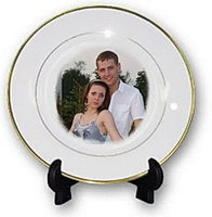 Тарелки для сублимации, белая, с золотой каймой Ø25см