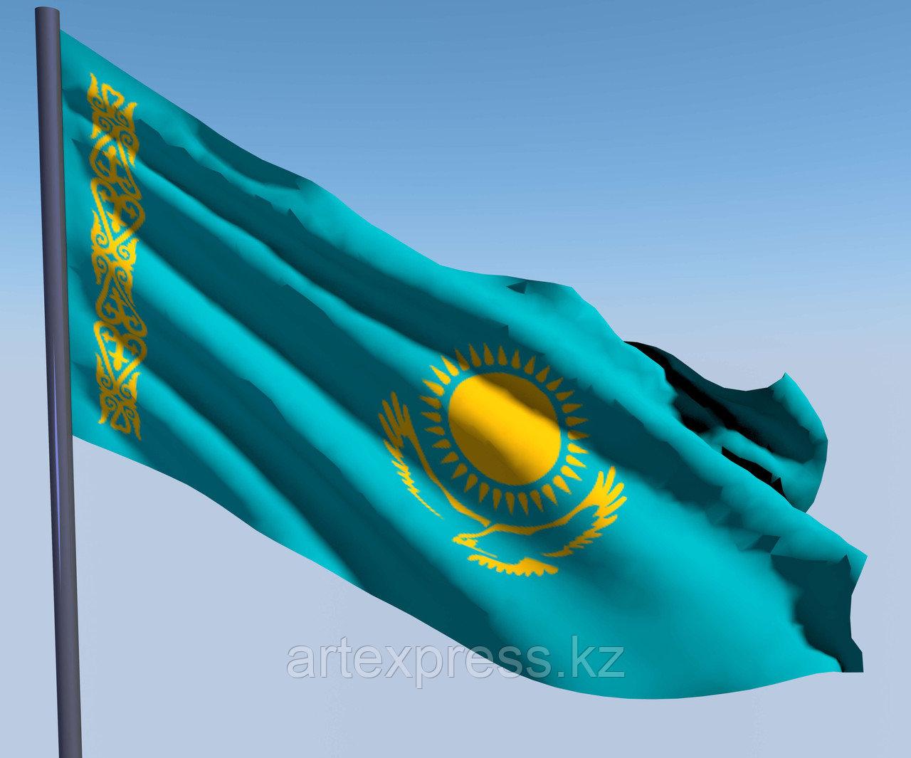 Флаг РК, 1 х 2м (двухслойный, с бахромой, габардин, компьютерная вышивка)