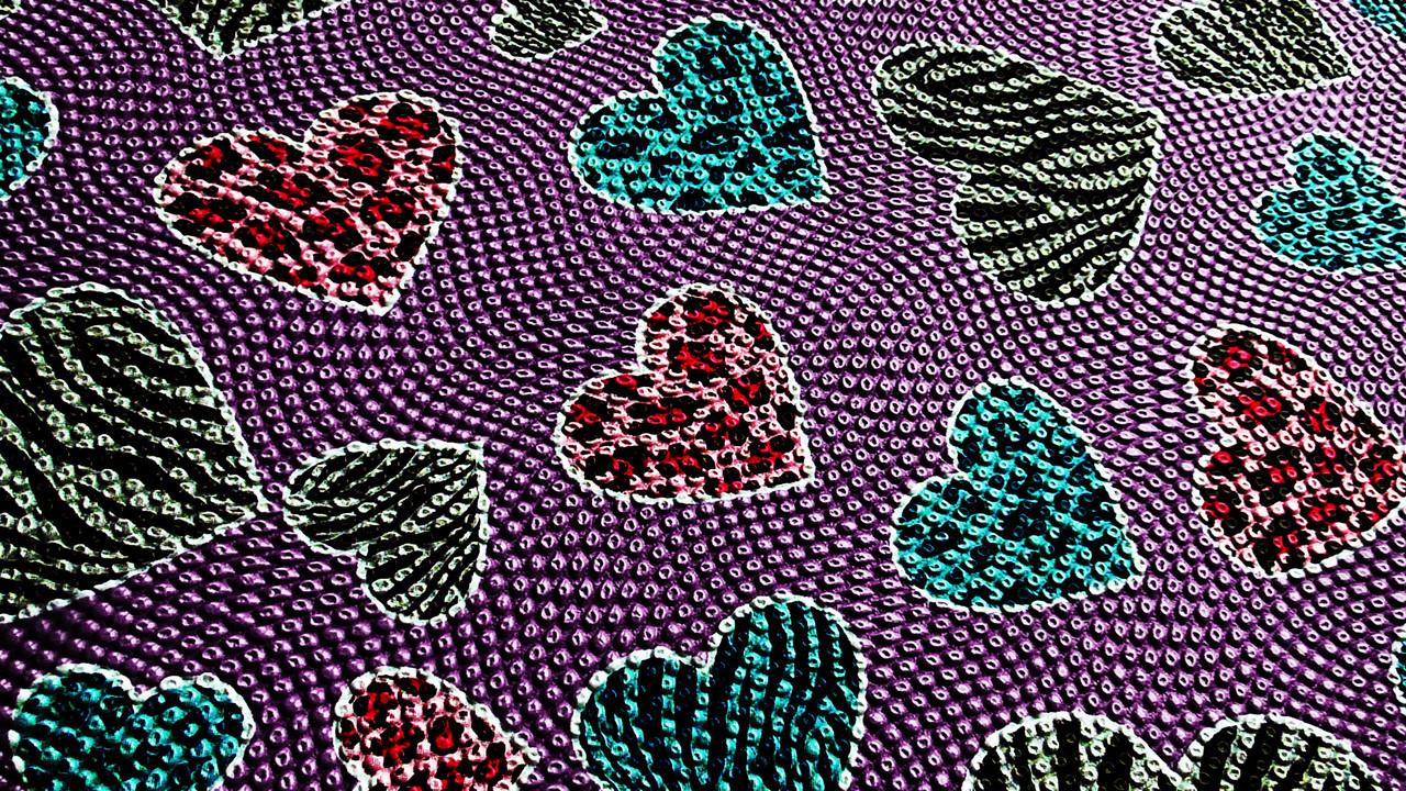 Пуфик органайзер складной сиреневый с сердечками (A) 31* 29* 28 см - фото 7