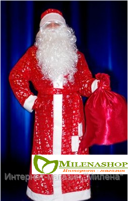 Костюм Дедушки Мороза бархатный с бородой и париком
