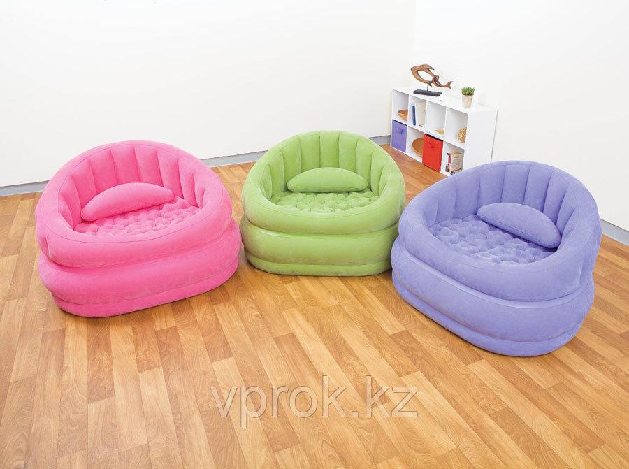 Кресло надувное 91х102х65 см, max 100 кг, Intex 68563, поверхность флок - фото 2