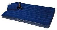 Матрас надувной двуспальный 203х152х22 см, max 273 кг, Intex 68765, подушки 2, насос ручной, поверхность флок