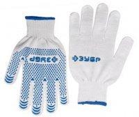 Перчатки ЗУБР трикотажные, 10 класс, х/б, с защитой от скольжения, S-M
