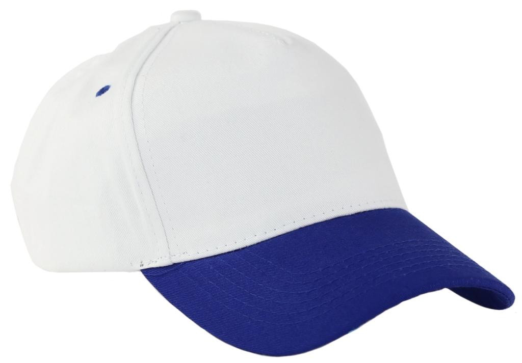 Бейсболки 5 панельные (плотные, Белое синим)
