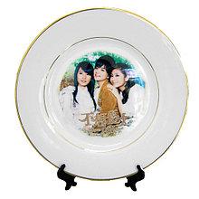 Тарелка под сублимацию с золотым ободком