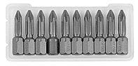 """Биты KRAFTOOL """"ЕХPERT"""" торсионные кованые, обточенные, Cr-Mo сталь, тип хвостовика C 1/4"""", PH1, 25мм, 10шт"""