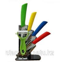 Керамические ножи разноцветные 4шт+овощечистка