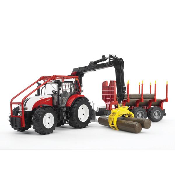 Bruder Игрушечный Лесной Трактор Steyr CVT 6230 с манипулятором и прицепом с брёвнами (Брудер)