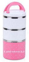 Ланч бокс тройной 1230 ml (Three layers lunch box) розовый, ланч бокс для еды