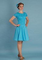 Платье спортивное для бальных танцев Р 7.3 Альера (бирюза)