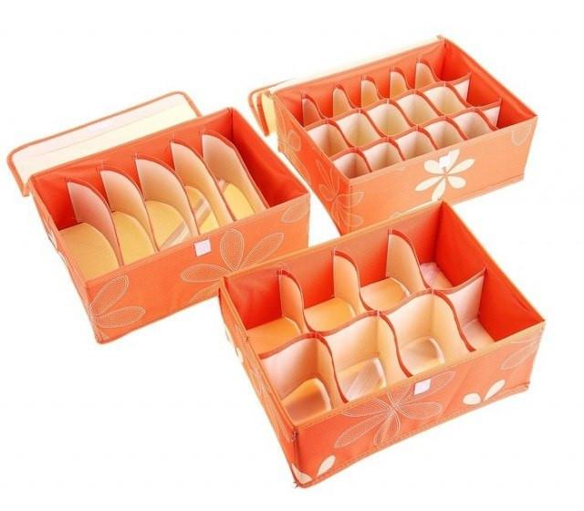Набор органайзеров для нижнего белья с крышками (3 шт)
