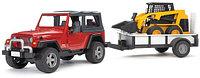 Внедорожник Wrangler c прицепом-платформой и колёсным мини погрузчиком CAT с ковшом