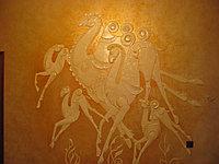 Рельефная гипсовая настенная композиция.Семейка верблюдов