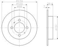Тормозные диски Nissan Sunny N14 (90-95, Optimal, задние)