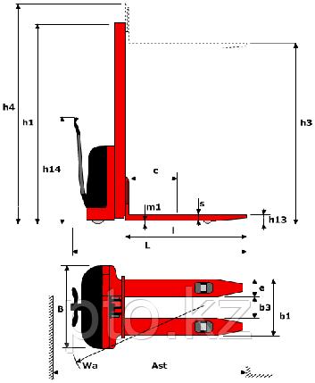 Штабелер гидравлический с электроподъемом LM E-1030 LEMA, фото 2
