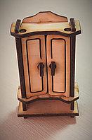 Шкаф - деревянный, кукольная миниатюрная мебель