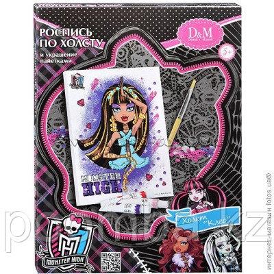 Роспись по холсту и украшение пайетками Клео Monster High
