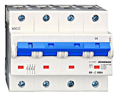 Автоматический выключатель 4-полюса 100А на рейку DIN