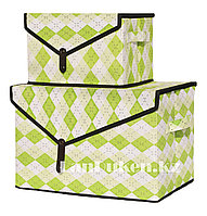 Органайзер для хранения вещей 2 в 1, коробка для хранения зеленый в ромбик, фото 1