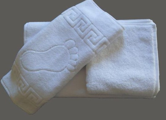 Махровое полотенце для ног 50*70 белое, Россия(плотность 650 г/м2)