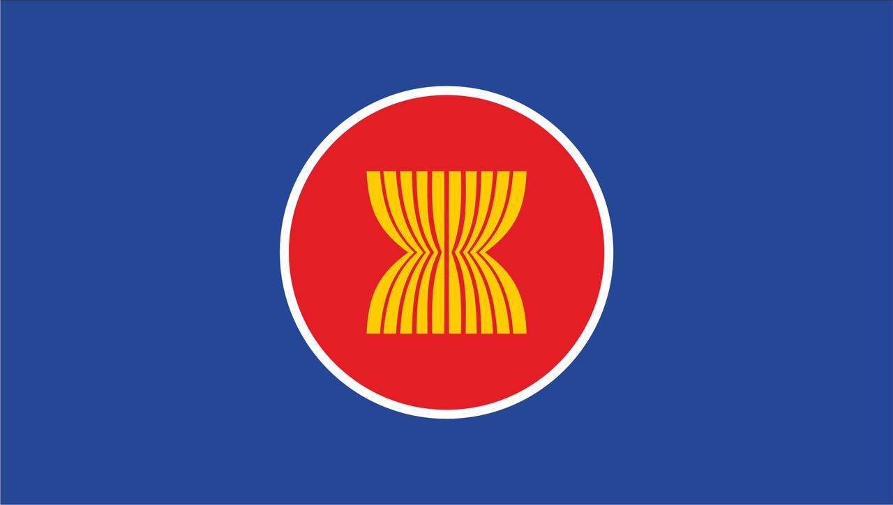 Флаг АСЕАН. Ассоциации государств Юго-Восточной Азии.