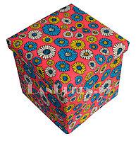 Пуфик органайзер складной красный с цветами (A) 31* 29* 28 см