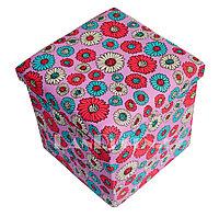 Пуфик органайзер складной розовый с цветами (A) 31* 29* 28 см