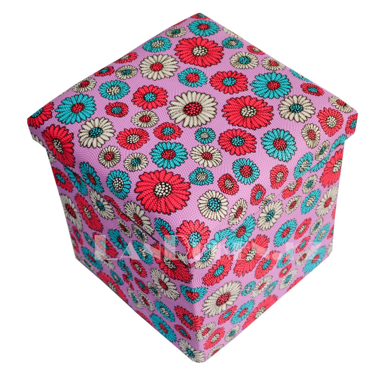 Пуфик органайзер складной розовый с цветами (A) 31* 29* 28 см - фото 1