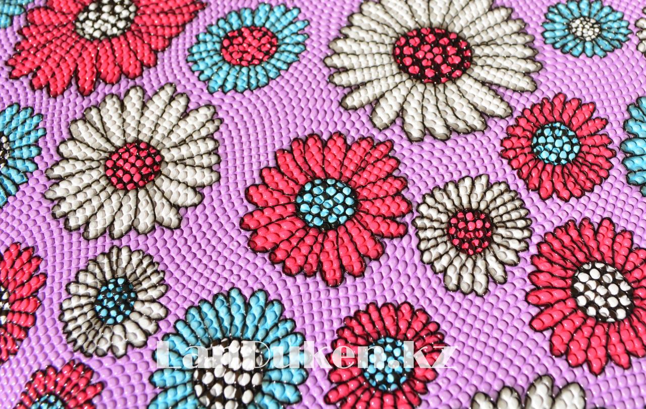 Пуфик органайзер складной розовый с цветами (A) 31* 29* 28 см - фото 3