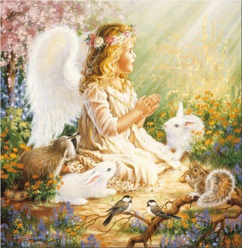 """Картины стразами """"Ангел с кроликами"""" 40х50 см"""