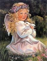 """Картины стразами """"Ангел с кроликом"""" 40х60 см"""