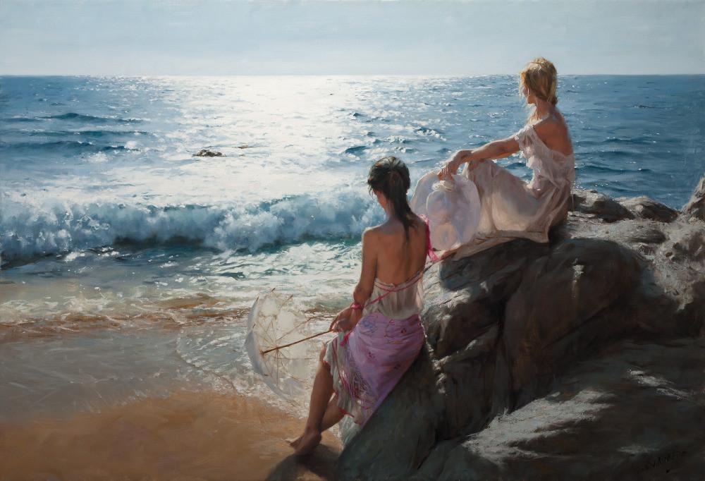 """Картины стразами """"Две девушки на берегу"""" 40х80 см"""