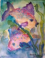 """Картины стразами """"Две цветные рыбки"""" 40х50 см"""