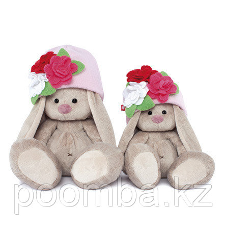 Игрушка мягкая Зайка Ми в шапочке с цветами (малая)