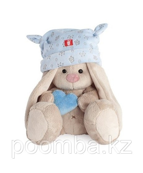 Зайка Ми в голубой шапке с сердечком (малыш)