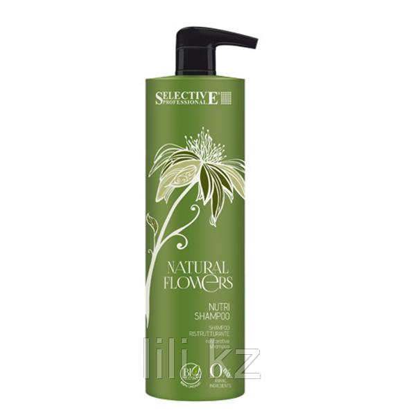 Питательный шампунь для восстановления волос Selective Natural Flowers Nutri Shampoo 1000 мл.